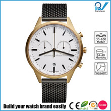 PVD satin gold case 316L stainless steel case scratch-resistant man multi-functional vogue chronograph watch