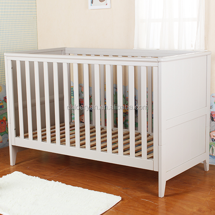 Simple Design And Safety White Bamboo Solid Wooden Designer Baby Cots
