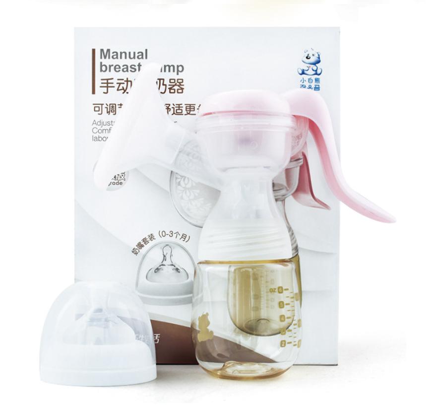 Adjustable BPA Free Portable Silicone Baby Feeding Manual Breast Milk Feed Pump for Breastfeeding