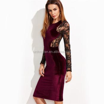 New Design Women Formal Dresses Long Sleeve Bodycon Dress Lace Back Velvet Pencil Dress Buy Velvet Frock Designpictures Formal Dresses Womenwomen