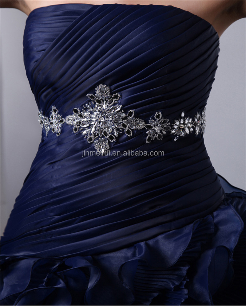 Dark Blue Strapless Sleeveless Sweep Train Lace-up Evening Gowns Ruched Cascading Ruffles Appliqued Beaded Quinceaneras Dress