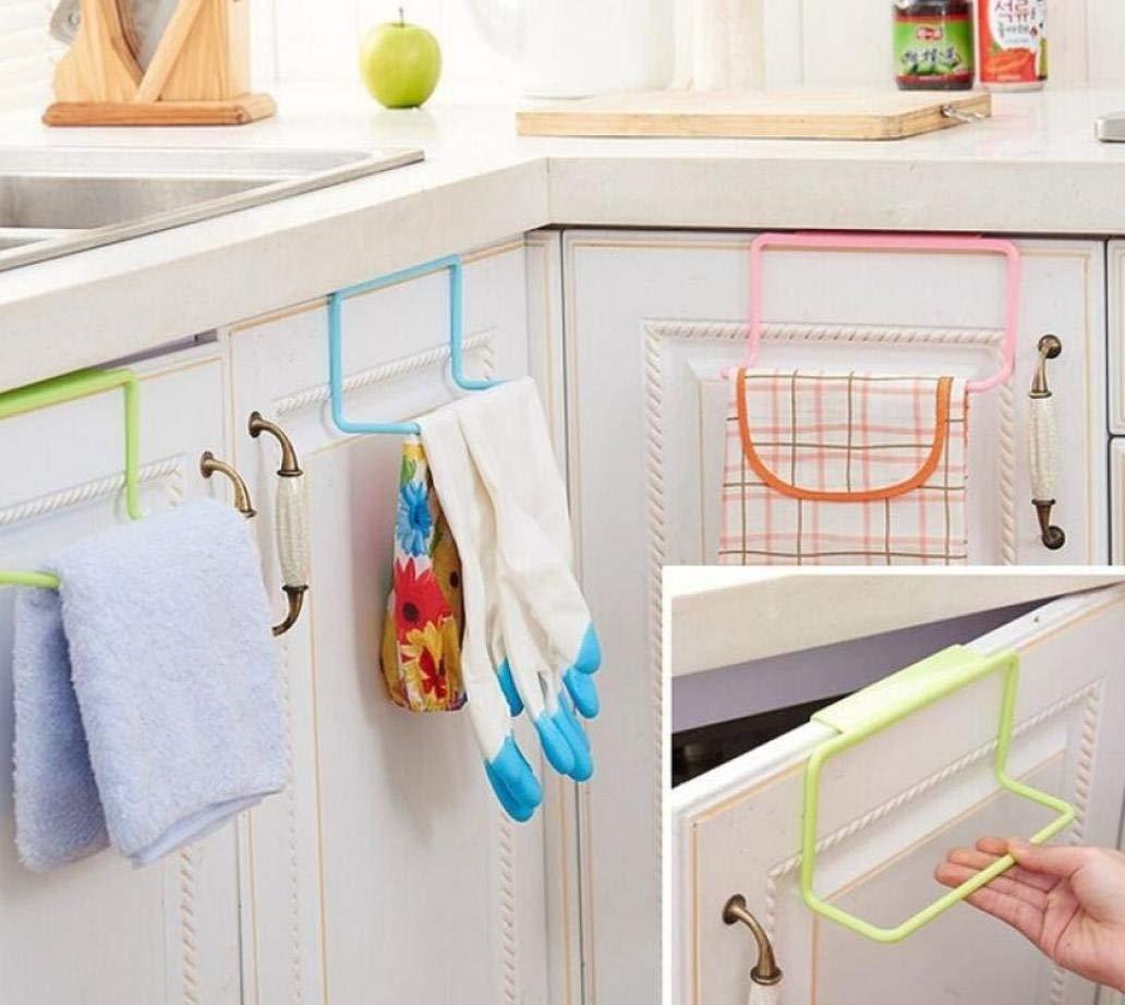 LtrottedJ Towel Rack Hanging Holder, Organizer Bathroom Kitchen Cabinet Cupboard Hanger (White)
