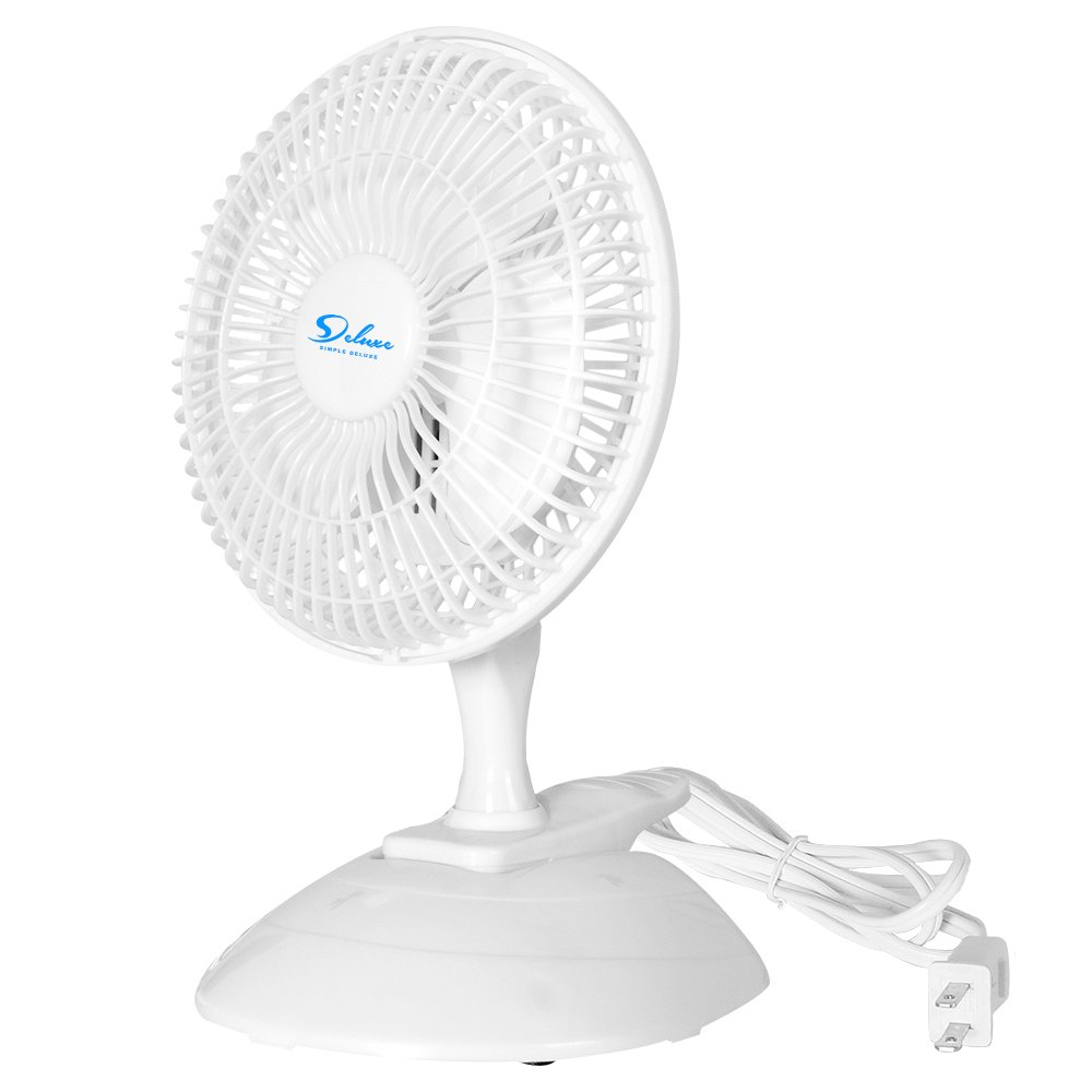 Simple Deluxe 6-Inch 2-Speed Clip On Desktop Table Oscillating Electric Fan with Clamp and Removable Pedestal, ETL Certified