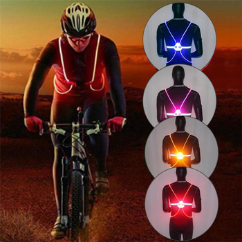 Outdoor Night Running Cycling Sports Flashing Vest Motorcycle LED Fiber Riding Light Up Safety Reflective Jacket Vest