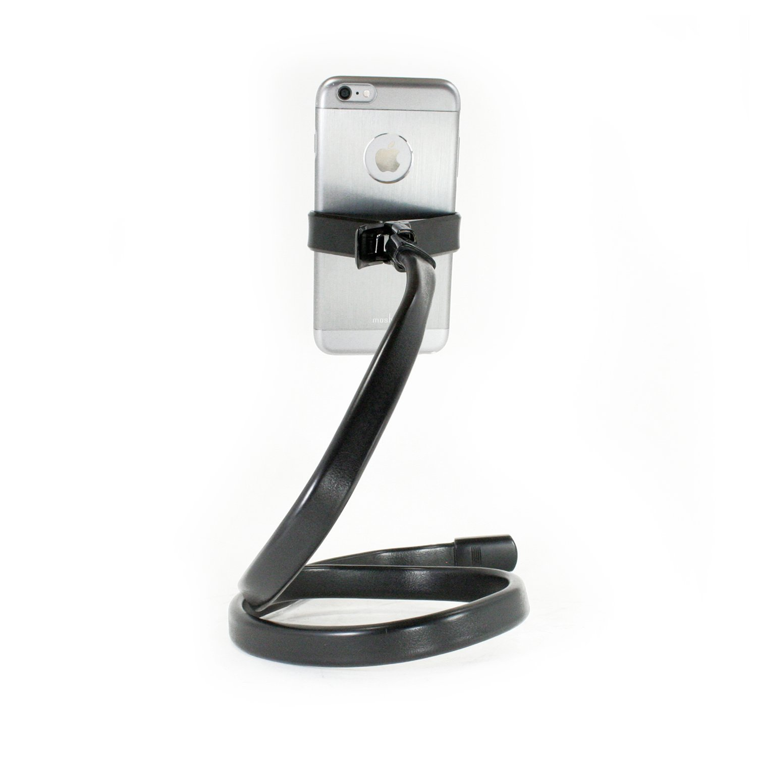 Livestream - Flexible Phone Holder Clamp Stand with Rotatable Smartphone Mount. Use for Video Recording, Pictures, or Live Streaming. Clamp to Desk, Table, or Wear Around Neck. (Black)