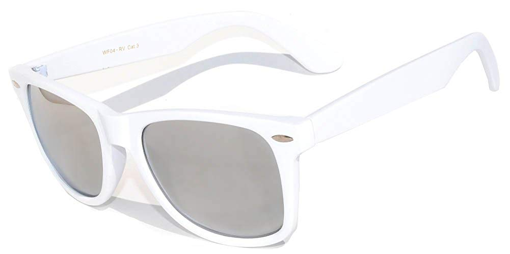 4d72318d83e Get Quotations · Vintage Retro Classic Silver Mirror Reflective Lens  Sunglasses White Frame