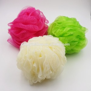 Colorful body cleaning brush mesh pouf bath sponge
