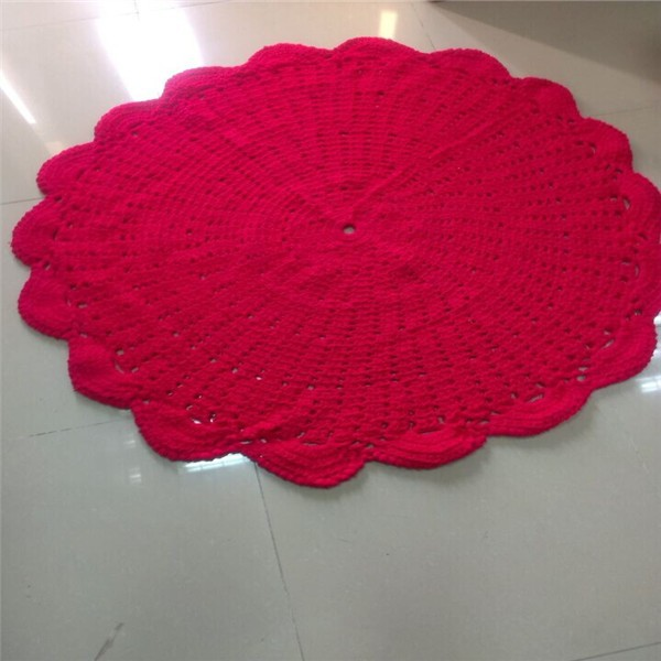 Fashion Best selling red Handmade crochet cotton rug, round rug blanke
