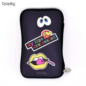 PU Leather Zipper Carrying Travel Pouch Bag Coin Purse Cellphone Purse Pen / Pencil Case Cute Embroidery Pattern Design