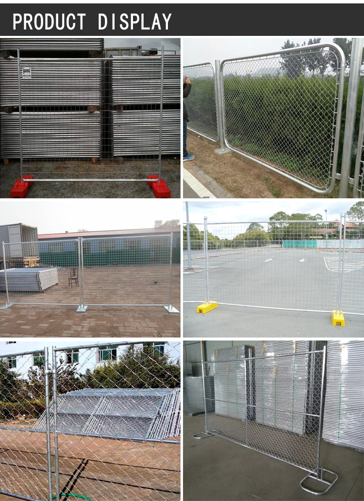 Moveable type free stand temporary fence panels chain link portable construction site fence panels