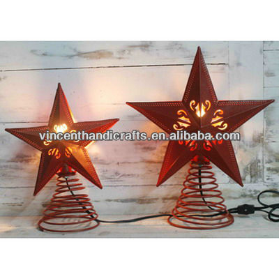 Rusty country metal tree top star electric lights for Christmas decor