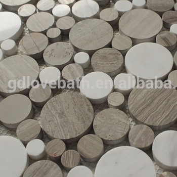 Runde Form Bad Wand Und Dusche Bodengitter Gesichert Marmor Mosaik Fliesen