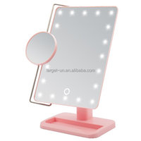 2017 Wholesale bathroom mirrors led lighted vanity makeup mirror with magnifying