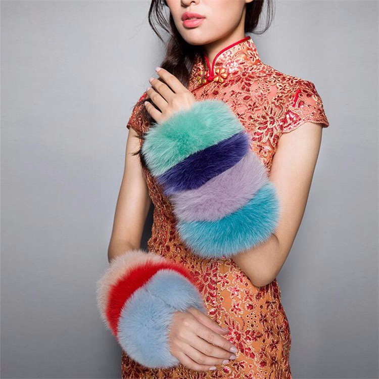 Natural Color Fox Fur Cuff for Ladies Down Coat Accessory