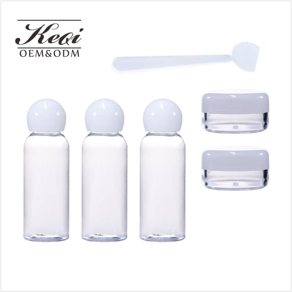 KEQI China Supplier 5 Pcs Portable Travel Bottle Set Cosmetic Bottle with pvc bag