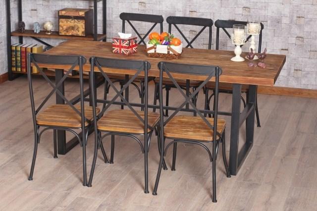 table salle a manger fer et bois maison design. Black Bedroom Furniture Sets. Home Design Ideas