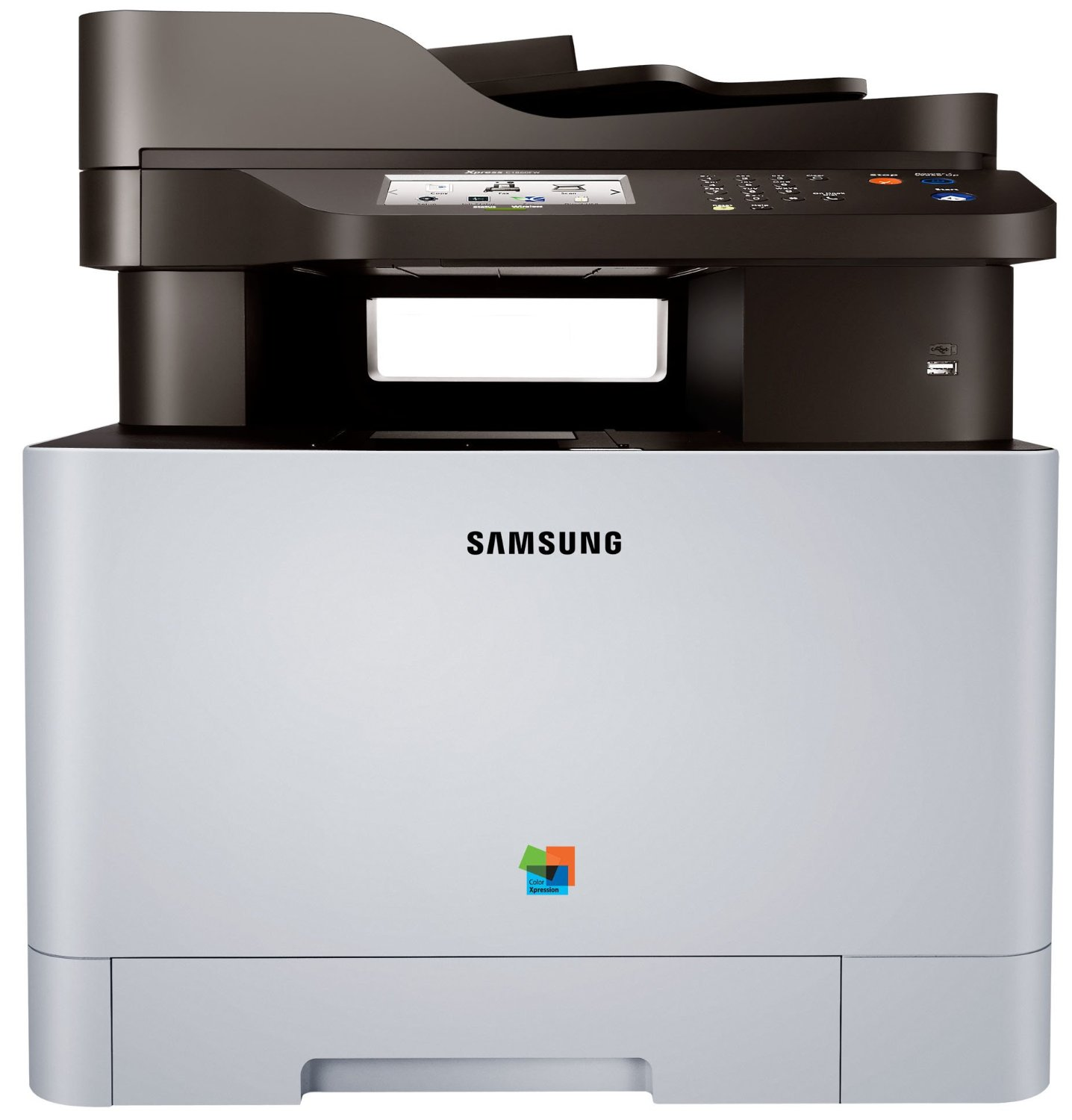 """Samsung Xpress C1860FW Color Laser MFP (19 ppm) (533 MHz) (256 MB) (8.5"""" x 14"""") (9600 x 600 dpi) (Max Duty Cycle 40000 Pages) (p/s/c/f) (USB) (Ethernet) (Wireless) (Touchscreen) (250 Sheet Input Tray) (1 Sheet Multipurpose Tray) (50 Sheet ADF)"""