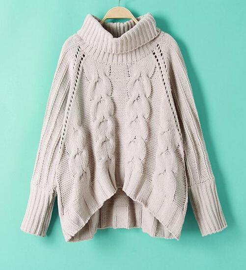 9ef14578c8845 Otoño las mujeres del diseño clásico de cuello alto acanalado suéter  suéteres para las mujeres