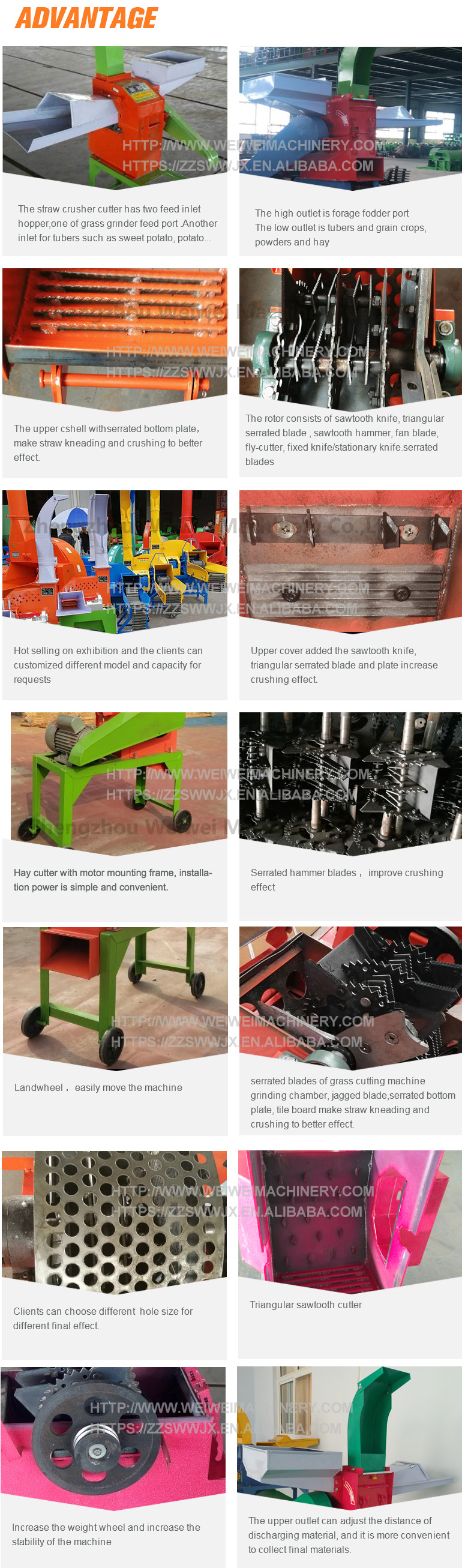 New hot selling products hotsell feed crusher flour mill chaff cutter grass straw cutting and grinding weiwei brand machine