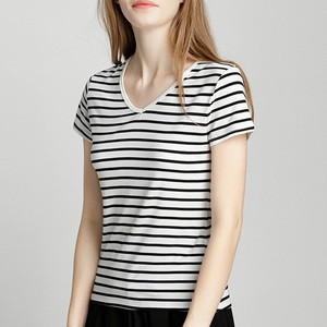 95 Cotton 5 Spandex Striped Cotton Women V Neck T Shirts In Bulk