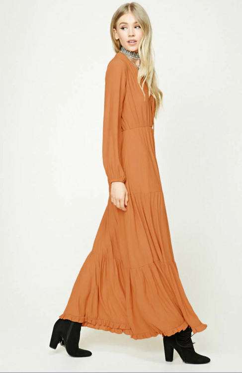 03cc1c1ca58 SF-Y1700012 Women Casual Plunging V-neckline Long Elasticized Sleeves Woven  Shirred Wrap Maxi