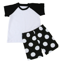 Black and White Raglan Shirts Matched Polka Dots Shorts Outfit Little Boys Clothing
