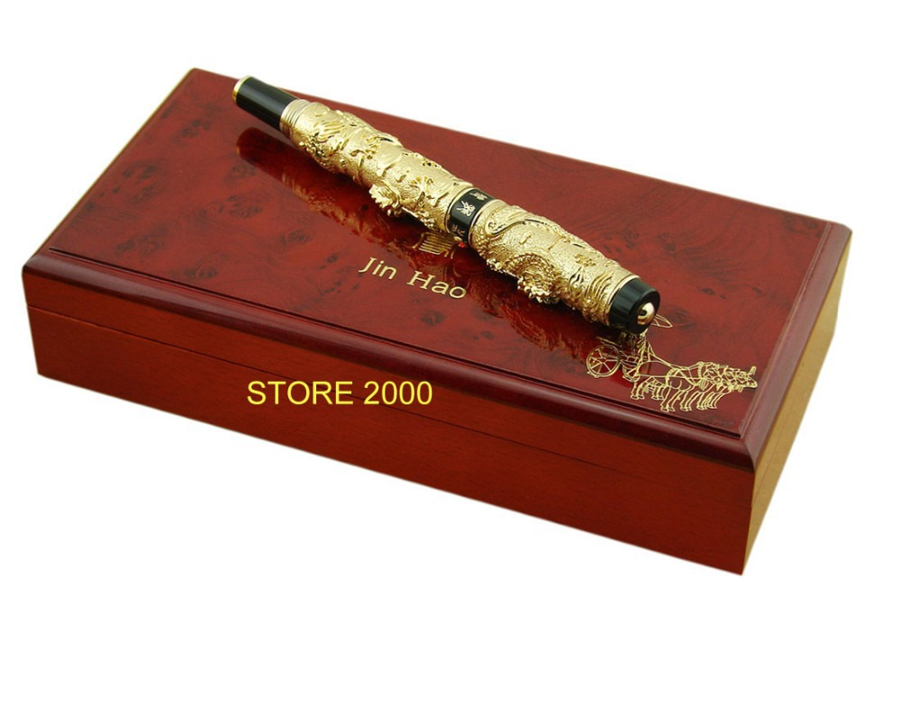Advanced Collection Pen , Jinhao Golden Two Dragon Play Pearl 3D Pattern Fountain Pen & Original Box