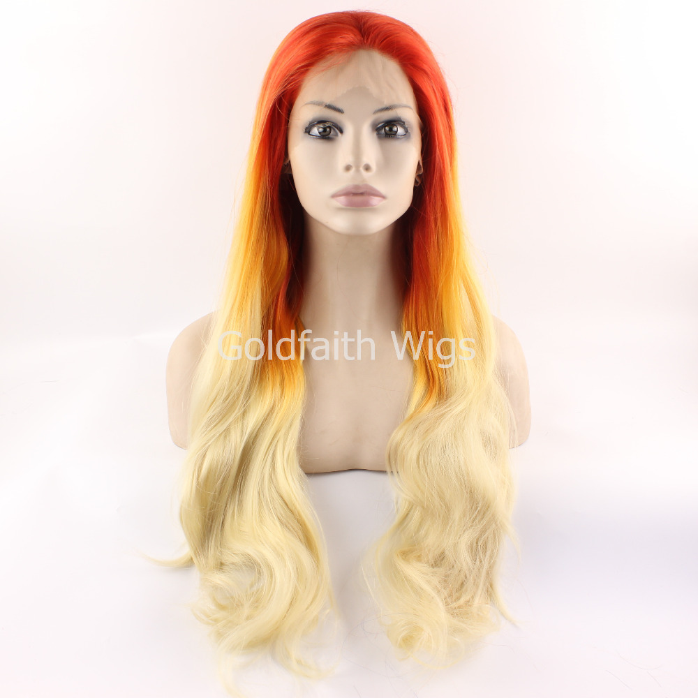 SF2 Front Lace Wig Red Orange Blonde Ombre Synthetic Wig Straight Kanekalon Wig For Fashion Women