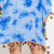 Fashion Ladies Pom Pom Lace Up Tie Dye Beach Dress Oversized
