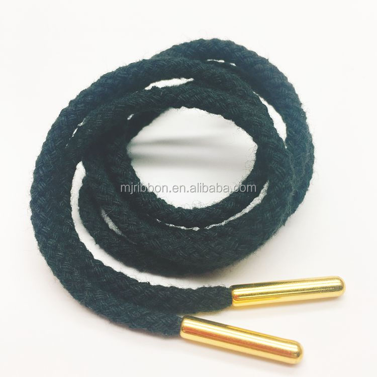 3mm black cotton drawstring cord for bag, drawcord with gold metal tips