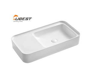 Modern design shallow mouth countertop round ceramic sink trough art bowl  new model wash basin