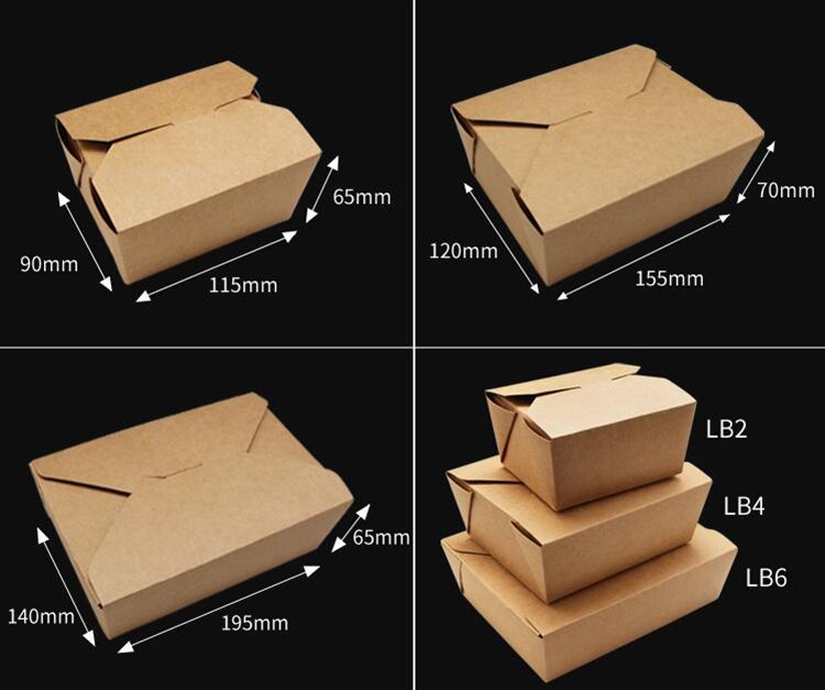 Take away disposable salad box with kraft paper