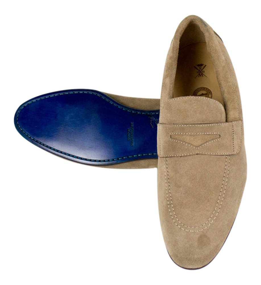 4862587114dc3 Buy Sutor Mantellassi Blue Suede Leather Penny Loafers Shoes Size ...