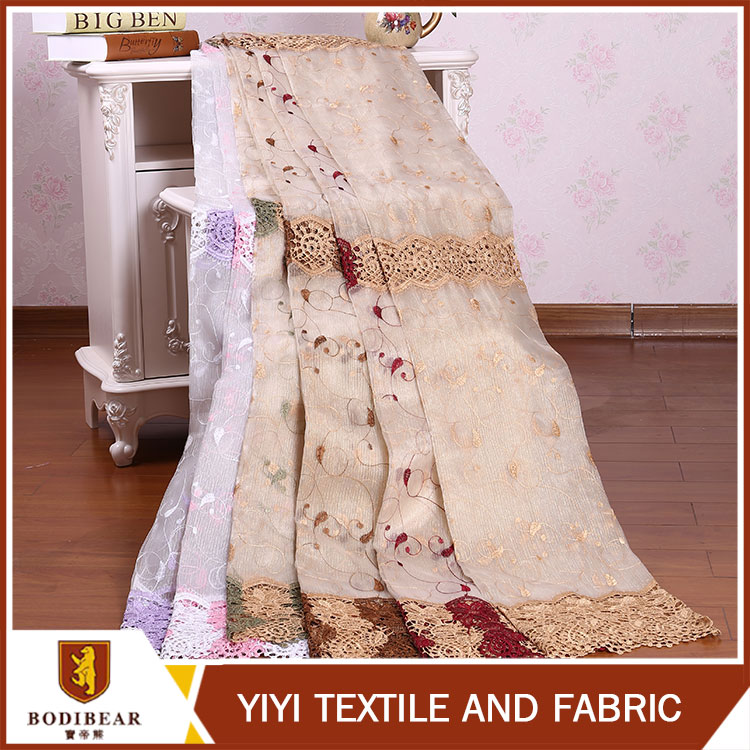 Best selling Home decor Luxury embroidered dubai voile curtain fabric india