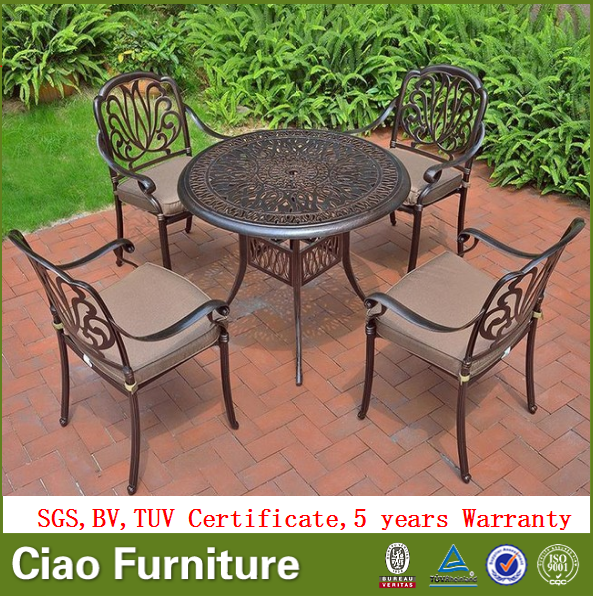 all weather cast aluminum outdoor dining table set garden. Black Bedroom Furniture Sets. Home Design Ideas
