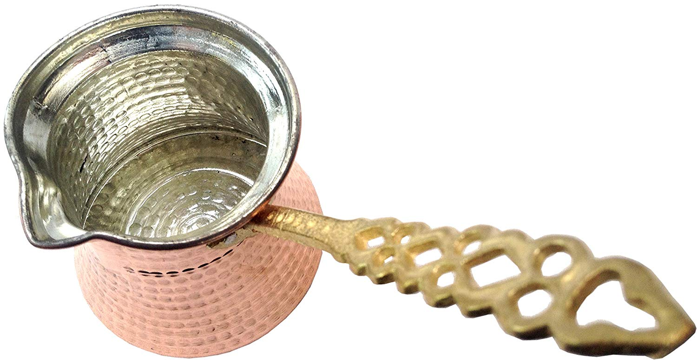 Premium Brass Copper Turkish Coffee Warmer Pot with Handle, Also for Turkish Greek Arabic Tea or Coffee 3-4 People (13oz / 350 mL)