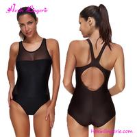 Black Mesh Hollow Back Swim Suit Mature Women One Piece Swimsuit
