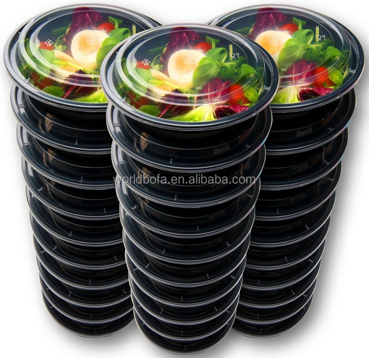 Round BPA Free Food Packaging Containers Plastic Meal Prep Bowls