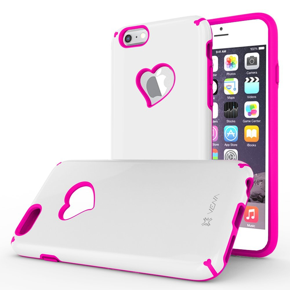 """iPhone 6S Plus Case, Vena [vLove] Heart-Shape Rear Window Dual Layer Hybrid Bumper Cover for Apple iPhone 6 Plus 2014 / 6S Plus 2015 (5.5""""-inch)- White / Pink"""