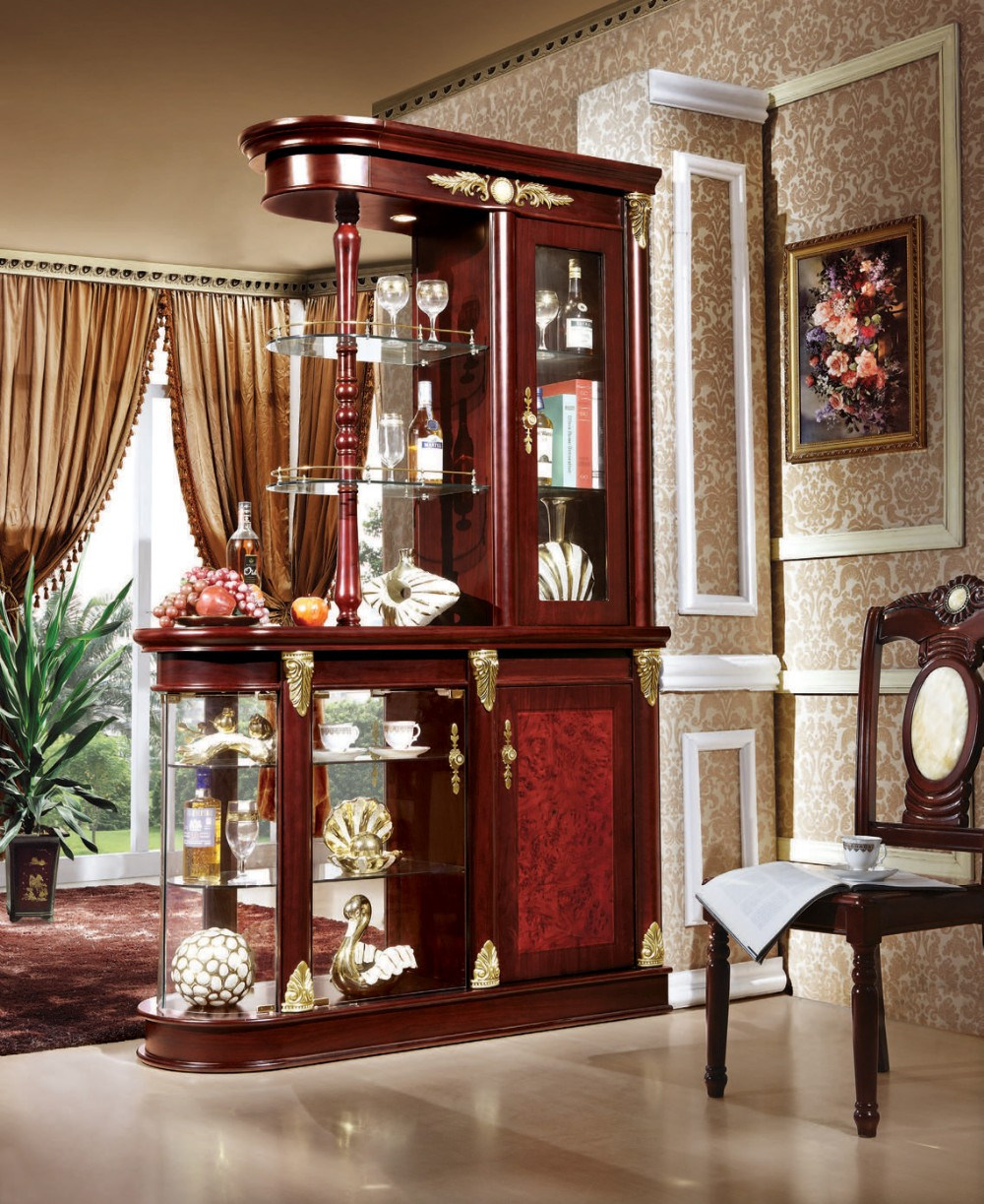 Custom made modern design living room partition furniture luxury display cabinet for wine for Living room partition furniture
