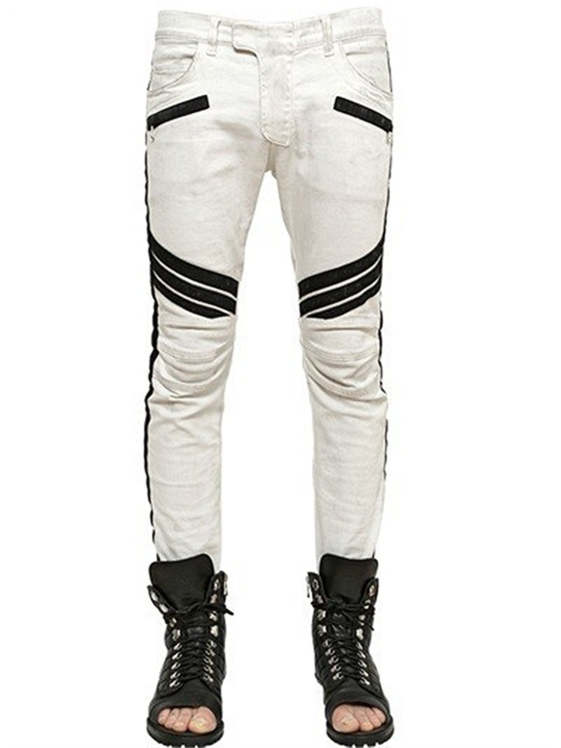 Trending Apparel New Men Biker Camo Denim Jeans PU Ripped Distressed Stacked Double Needle 30-38