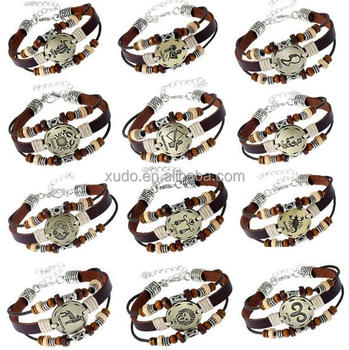 free shipping leather bracelet zodiac bracelet for women/men