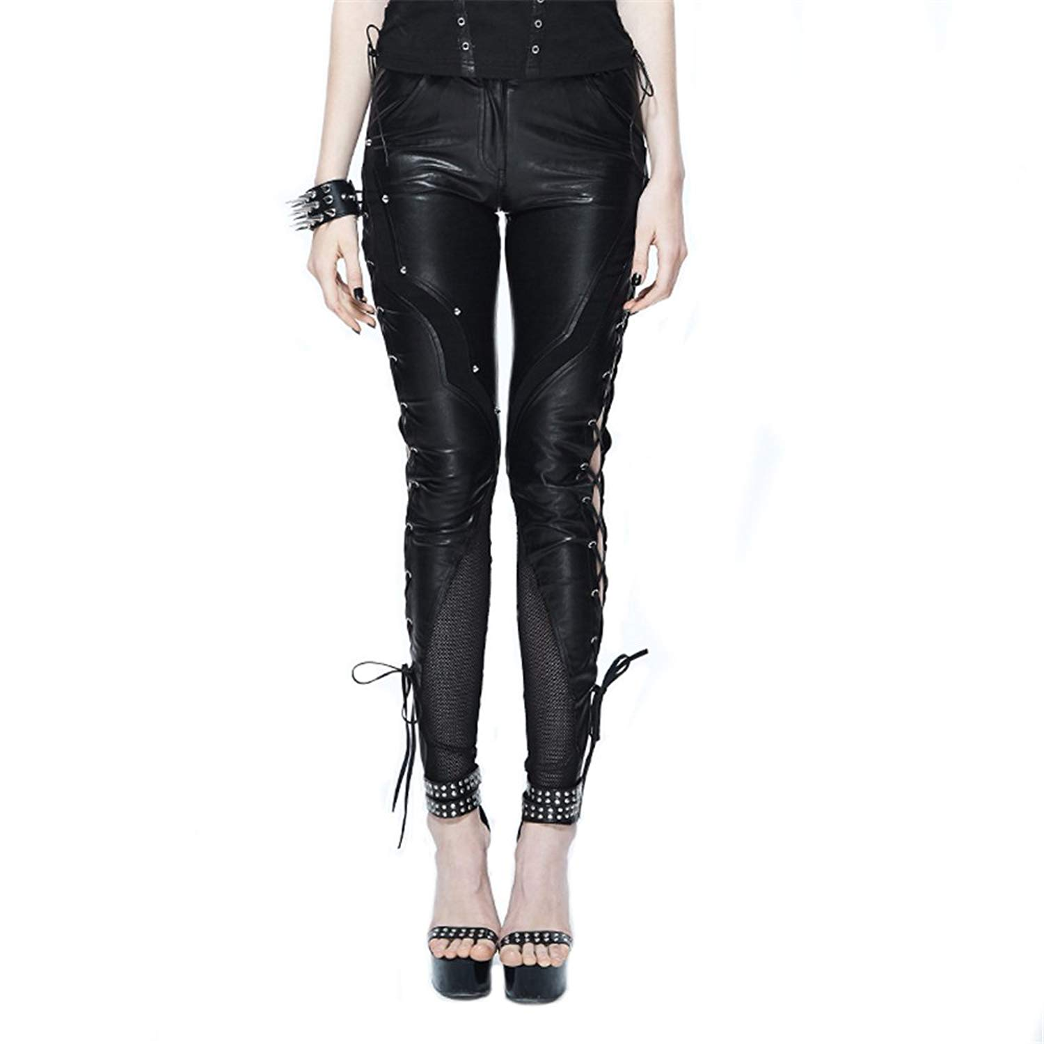 dde8e0179989 Get Quotations · Punk PU Leather Pants for Women Sexy Tight Stretchy Rider  Leggings Motorcycle Tight Pants