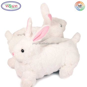 F316 Medium Adult Size Animal Non Slip Slippers Stuffed Bunny Animal