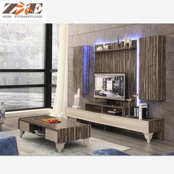 Wooden New Model Tv Cabinet With Showcase Living Room Led Tv Wall