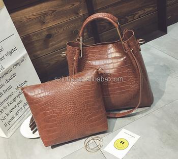 949b4f1698 Fashion woman designer handbag sets 2 pieces PU leather crocodile skin handbag  sets