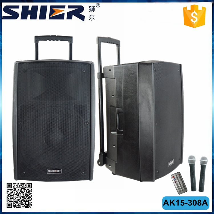 15 inch 75w Trolley battery speaker AK15-308A large audio loud speaker box with USB FM Radio Bluetooth
