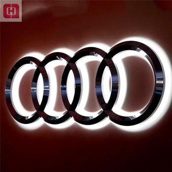 Advertising vacuum coating illuminated 3d led car logo and their name automobile lighted sign