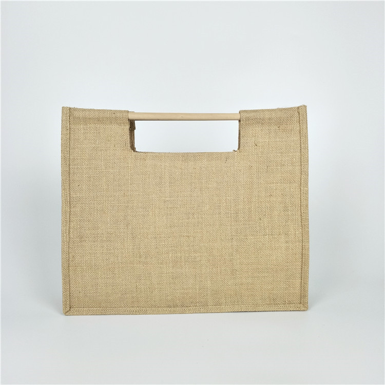 Factory direct supply handcraft jute shopping gift bags with <strong>eco</strong> wooden handle cheap documents file hemp bags customized logo
