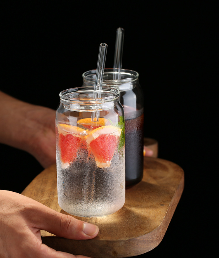 400ml Reusable Heat Resistant Borosilicate Glass Tumbler With Straw Glass Ice Coffee Tea Cup With Lid and Straw